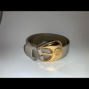 Vintage Liz Claiborne Gray Belt Gold Buckle Sz:S